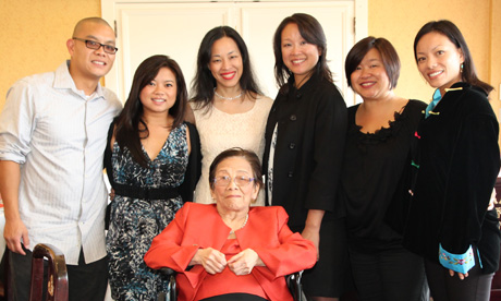 Nancy Lee Chang with her grandchildren Eric Lagandaon, Leah Baptista, Lia Chang, Tami Chang, Marissa Chang-Flores, Alaina Lagandaon (not pictured Karina Umehara)  on her 90th birthday on July 16,2011. Photo by Albert Baptista