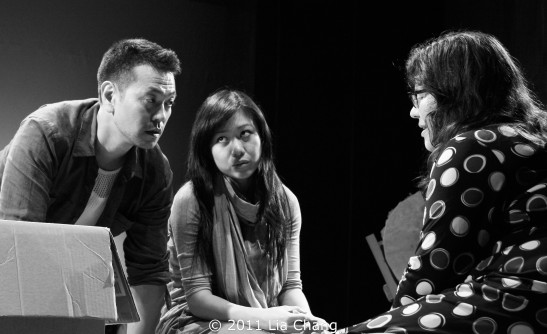 Louis Ozawa Changchien and Angela Lin with director Katherine Kovner. Photo by Lia Chang