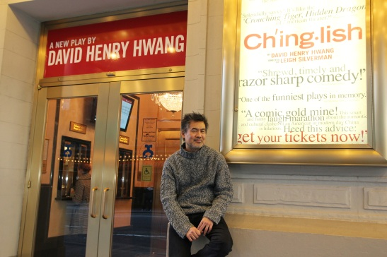 Playwright David Henry Hwang in front of the Longacre Theatre in New York. Photo by Lia Chang