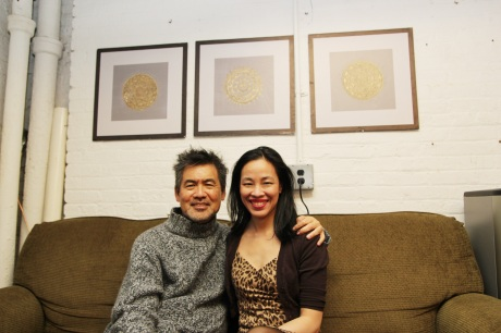 Playwright David Henry Hwang and Lia Chang in the Chinglish Green Room at the Longacre Theatre on Broadway on October 22, 2011.  Photo by Joanna C. Lee