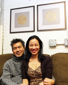 David Henry Hwang and Lia Chang in the Chinglish Green Room at the Longacre Theatre in New York on October 22, 2011. Photo by Joanna C. Lee
