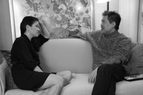 Chinglish leading lady Jennifer Lim chats with playwright David Henry Hwang in her dressing room at the Longacre Theatre in New York on October 22, 2011.  Photo by Lia Chang