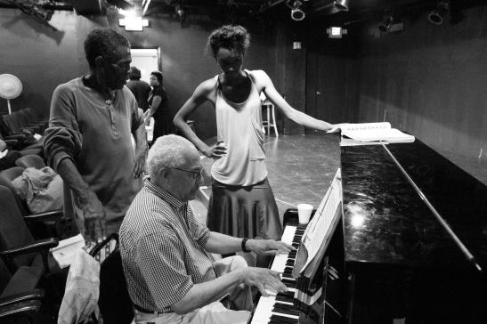"Director/Choreographer André De Shields and musical director J. Leonard Oxley work with Zurin Villanueava on a musical cue in ""The Joint is Jumpin'"" at The Playroom Theatre in New York on September 24, 2011.Photo by Lia Chang"