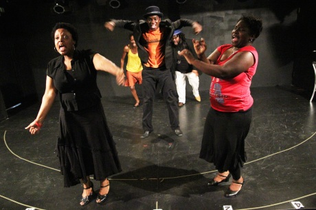 The cast of Crossroads' Ain't Misbehavin' in rehearsal at The Playroom Theatre in New York on September 24, 2011. Photo by Lia Chang