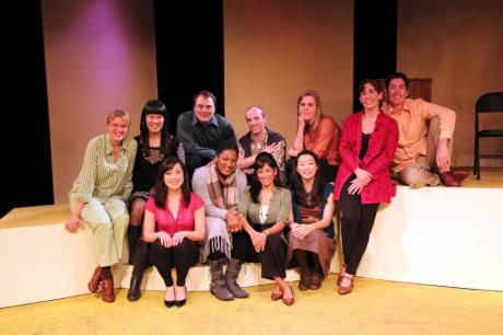 (L-R First Row) Katie Bradley, La Dawn James, Nora Montanez, Sara Ochs; (L-R Second Row) Shanan Custer, playwright Katie Hae Leo, Don Eitel, Neil Schneider, director Suzy Messerole, Maria Kelly and Nicholas Freeman on the set of Four Destinies at Mixed Blood Theatre after the opening night performance on October 15, 2011.  Photo by Lia Chang
