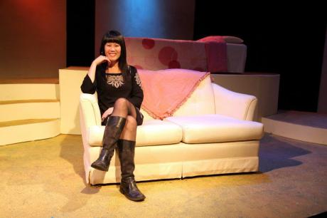 Playwright Katie Hae Leo on the set of her new play, Four Destinies, at Mixed Blood Theatre on October 15, 2011.  Photo by Lia Chang