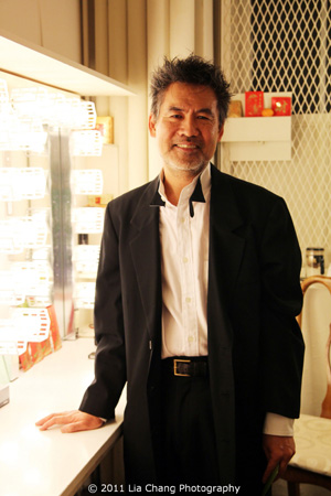 October 27, 2011. Tony-award winning and two-time Pulitzer Prize finalist playwright David Henry Hwang backstage at the Longacre Theatre on the opening night of his new play Chinglish. Photo by Lia Chang