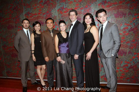 The Cast of David Henry Hwang's Chinglish at their opening night party held at Brasserie 81/2 in New York on October 27, 2011. (L-R) Stephen Pucci, Angela Lin, Larry Lei Zhang, Jennifer Lim, Gary Wilmes, Christine Lin and Johnny Wu. Photo by Lia Chang