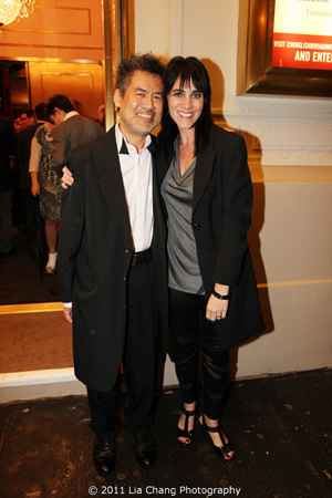 Chinglish Playwright David Henry Hwang and director Leigh Silverman arrive at the Longacre Theatre in New York for the opening night performance of Chinglish on October 27, 2011.  Photo by Lia Chang