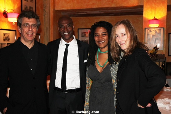 "Eric Bogosian, John Earl Jelks, Lynn Nottage and Jo Bonney at the opening night party of  ""By the Way, Meet Vera Stark"" on May 9, 2011.  Photo by Lia Chang"