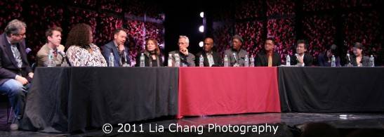 NEW YORK, NY - NOVEMBER 13: (L-R) Douglas Carter Beane, Lewis Flinn, Liz Mikel, Dan Knechtges, Leslie Blake, David Ives, Kenny Leon, Samuel L. Jackson, Randy Gener, David Henry Hwang, Leigh Silverman and Jennifer Lim attend the 2011 Drama Desk and Fordham University Theatre Program Panel Discussion: Anatomy of a Breakout at Fordham Law School on November 13, 2011 in New York City. (Photo by Lia Chang)