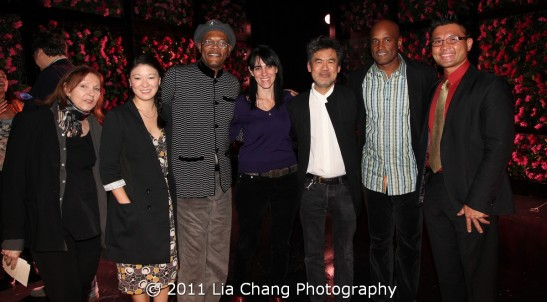 Leslie (Hoban) Blake, Drama Desk's Vice President, Jennifer Lim, actor, Chinglish, Samuel L. Jackson, actor, The Mountaintop, Leigh Silverman, director, Chinglish, David Henry Hwang, playwright, Chinglish, Kenny Leon, director, The Mountaintop and Stick Fly and Randy Gener, George Jean Nathan Award winning editor/critic Photo by Lia Chang