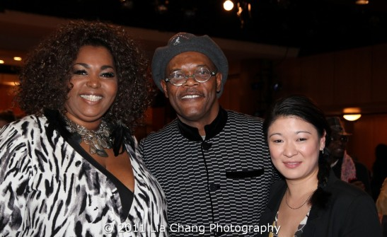 Actors Liz Mikel, Samuel L. Jackson and Jennifer Lim Photo by Lia Chang