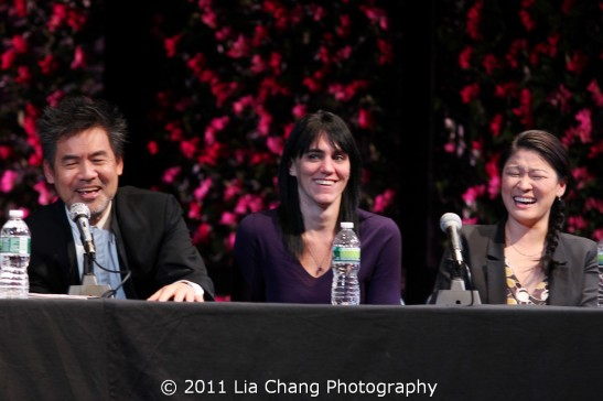 Chinglish playwright David Henry Hwang, director Leigh Silverman and Jennifer Lim Photo by Lia Chang