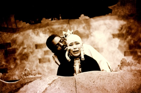 André De Shields and Lia Chang in a scene from Lonnie Carter's Gulliver at La MaMa in New York, September 1993.