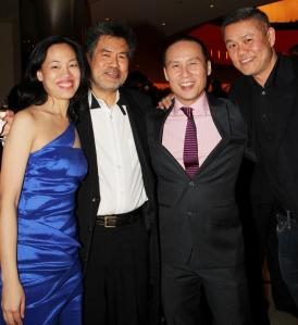 Lia Chang, David Henry Hwang, BD Wong and Chay Yew at the opening night party of the Broadway production of Hwang's Chinglish at Brassiere 8 1/2 in New York on October 27, 2011.
