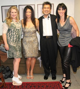 Kathryn Layng, producer Lily Fan, playwright David Henry Hwang and director Leigh Silverman backstage at the Longacre Theatre before the opening night performance of Chinglish on October 27, 2011. Photo by Lia Chang