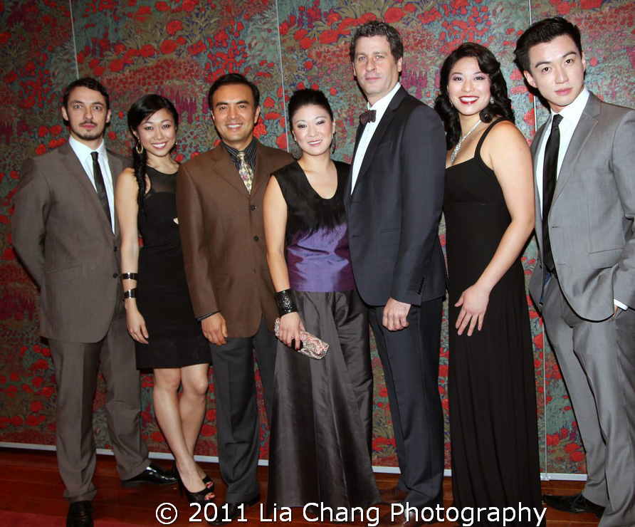 The cast of Chinglish-Stephen Pucci, Angela Lin, Larry Lei Zhang, Jennifer Lim, Gary Wilmes, Christine Lin and Johnny Wu at their opening party at Brasserie 8 1/2 in New York on October 27, 2011. Photo by Lia Chang