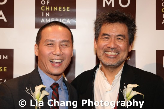 Actor BD Wong and Chinglish playwright David Henry Hwang, at the 32nd Annual MOCA Legacy Awards Gala at Cipriani Wall Street, 55 Wall St in New York on December 12, 2011.  Photo by Lia Chang