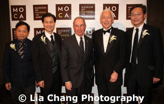 2011 MOCA Legacy Honorees Pichet Ong, pastry chef and author of The Sweet Spot, Dominic Ng, Chairman, President & CEO of East West Bank, Mayor Michael R. Bloomberg, Lifetime Achievement Award recipient philanthropist Oscar L. Tang & David Liu, co-founder and CEO of XO Group Inc. at the 32nd Annual MOCA Legacy Awards Gala at Cipriani Wall Street, 55 Wall St in New York on December 12, 2011. Photo by Lia Chang
