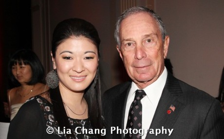Chinglish star Jennifer Lim and Mayor Michael R. Bloomberg at the 32nd Annual MOCA Legacy Awards Gala at Cipriani Wall Street, 55 Wall St in New York on December 12, 2011. Photo by Lia Chang