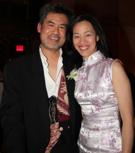 Chinglish playwright David Henry Hwang and Lia Chang at the 32nd Annual MOCA Legacy Awards Gala at Cipriani Wall Street, 55 Wall St in New York on December 12, 2011.