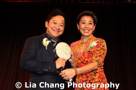 (LtoR) 2011 Legacy Award honoree Pichet Ong, celebrated pastry chef and author of The Sweet Spot with Mei-Mei Tuan at the 32nd Annual MOCA Legacy Awards Gala at Cipriani Wall Street, 55 Wall St in New York on December 12, 2011. Photo by Lia Chang