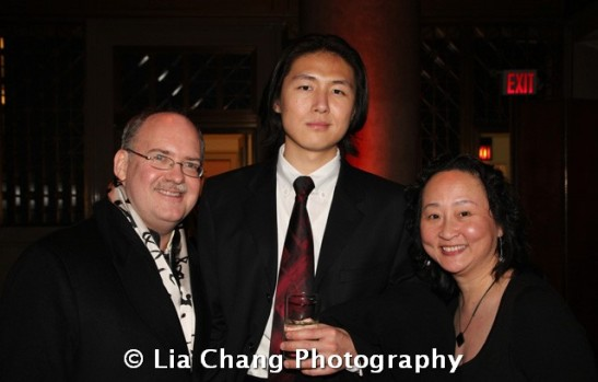 Team Chinglish cultural advisor Ken Smith, projections designer Shawn Duan and cultural advisor Joanna C. Lee at the 32nd Annual MOCA Legacy Awards Gala at Cipriani Wall Street, 55 Wall St in New York on December 12, 2011. Photo by Lia Chang