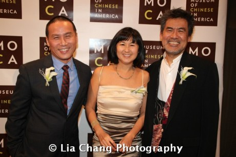Actor BD Wong, artist and architect Maya Lin and Chinglish playwright David Henry Hwang at the 32nd Annual MOCA Legacy Awards Gala at Cipriani Wall Street, 55 Wall St in New York on December 12, 2011.  Photo by Lia Chang