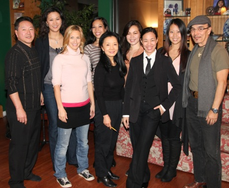 Playwright and co-director Rick Shiomi, Cindy Cheung, Susan Dalton Quinn, Amanda Galang, Ako, Katie Lee Hill, Lia Chang, Gyu Jin Lim and co-director Raul Aranas.