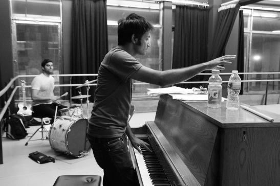 Shiv on the drums, Samrat Chakrabarti, Bakwas Bumbug co-creator, co-director and composer in rehearsal at DANY Studios in New York on 6/16/11. © 2011 Lia Chang