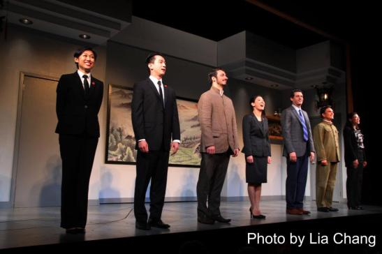 The cast of David Henry Hwang's Chinglish at the Longacre Theatre during the opening night curtain call on October 27, 2011.  Photo by Lia Chang