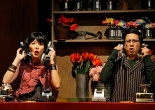 Sara Ochs as Audrey and Randy Reyes as Seymour in the Mu Performing Arts production of Little Shop of Horrors. Photo by Michal Daniel