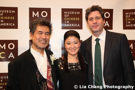 Chinglish playwright David Henry Hwang with his stars Jennifer Lim and Gary Wilmes at the MOCA Legacy Awards Gala at Cipriani Wall Street on December 12, 2011. Photo by Lia Chang
