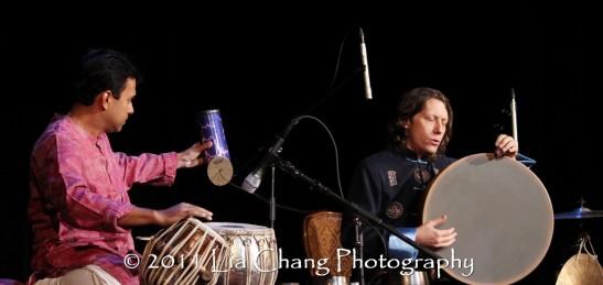 Silk Road Ensemble members Sandeep Das (L) and Shane Shanahan. (Lia Chang)