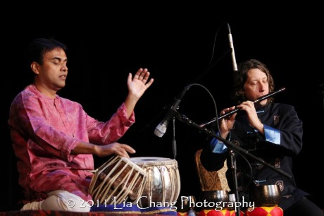 Silk Road Ensemble members Sandeep Das (L) and Shane Shanahan. (Lia Chang)