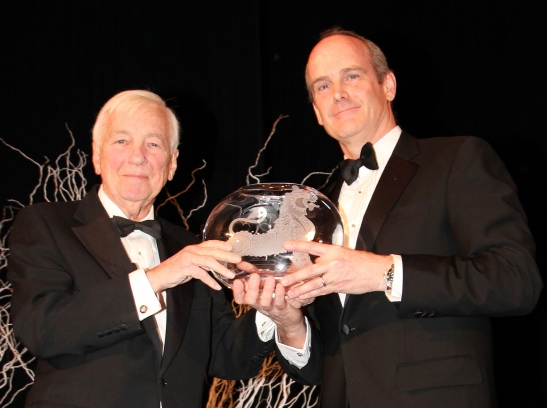 Former U.S. Deputy Secretary of State John C. Whitehead and Asia Society Trustee J. Michael Evans, Vice Chairman of Goldman Sachs. (Lia Chang)