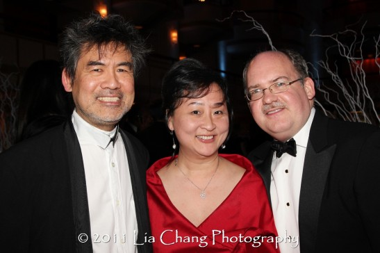 Asia Society Cultural Achievement Award winner David Henry Hwang (L) his cultural advisors for Chinglish Joanna C. Lee and Ken Smith. (Lia Chang)