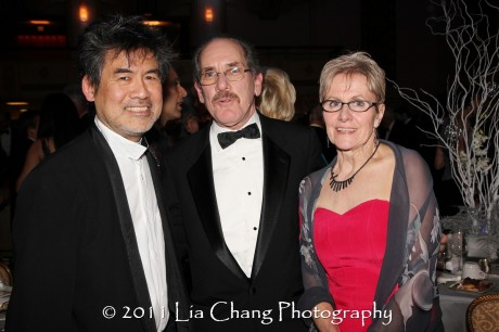 Asia Society Cultural Achievement Award winner David Henry Hwang, Ralph Samuelson, and Andrea Samuelson. (Lia Chang)