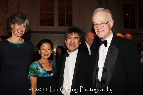 Kate Levin, Commissioner of the New York City Department of Cultural Affairs, Asia Society Trustee Lulu Wang, founder of Tupelo Capital Management, Asia Society Cultural Achievement Award winner David Henry Hwang and Former Asia Society President Bob Oxnam. (Lia Chang)