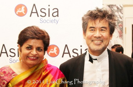 Asia Society President Vishakha Desai and Asia Society Cultural Achievement Award winner David Henry Hwang. (Lia Chang)