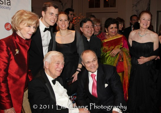 Seated, from left: Former U.S. Deputy Secretary of State John C. Whitehead and Ray Kelly, Commissioner of the New York City Police Department. Standing, from left: Cynthia Whitehead, David Earls, Samantha Earls, Asia Society Co-Chair Ronnie Chan, Asia Society President Vishakha Desai and Asia Society Co-Chair Henrietta Fore. (Lia Chang)