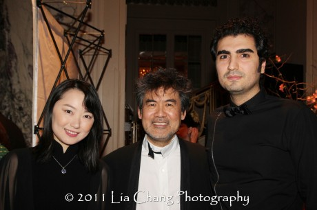 Chinese Opera star Qian Yi, Asia Society Cultural Achievement Award winner David Henry Hwang and Hafez Nazeri, Iranian composer. (Lia Chang)