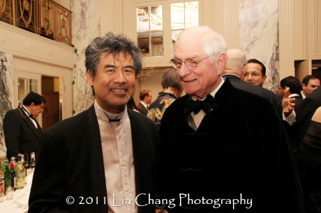 Asia Society Cultural Achievement Award winner David Henry Hwang (L) and Nicholas Platt, former president of the Asia Society. (Lia Chang)
