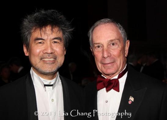 Asia Society Cultural Achievement Award winner David Henry Hwang (L) and Mayor Michael Bloomberg. (Lia Chang)