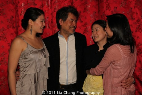 Chinglish group hug with Christine Lin, David Henry Hwang, Jennifer Lim and Angela Lin at Ruby Foo's Dim Sum Sushi Palace in New York on January 20, 2012. Photo by Lia Chang