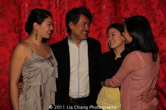 Chinglish group hug with Christine Lin, David Henry Hwang, Jennifer Lim and Angela Lin at Ruby Foo's Dim Sum Sushi Palace in New York on January 20, 2012. Photo by Lia Chang