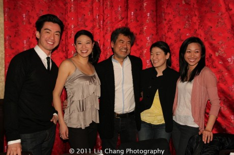 Johnny Wu, Christine Lin, David Henry Hwang, Jennifer Lim and Angela Lin at Ruby Foo's Dim Sum Sushi Palace in New York on January 20, 2012. Photo by Lia Chang