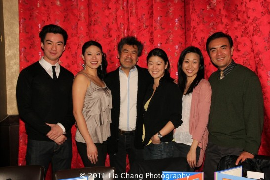 Johnny Wu, Christine Lin, David Henry Hwang, Jennifer Lim, Angela Lin and Larry Lei Zhang at Ruby Foo's Dim Sum Sushi Palace in New York on January 20, 2012. Photo by Lia Chang
