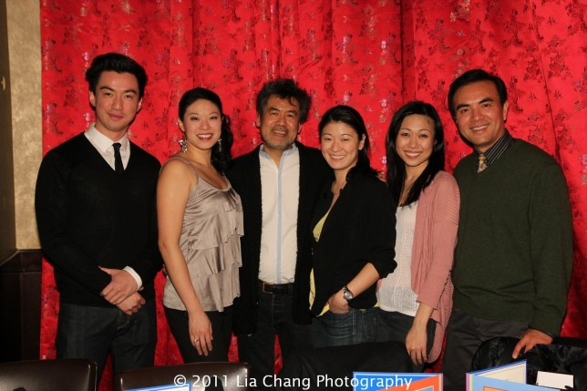 Broadway Chinglish castmembers Johnny Wu, Christine Lin, playwright David Henry Hwang, Jennifer Lim, Angela Lin and Larry Lei Zhang at Ruby Foo's Dim Sum Sushi Palace in New York on January 20, 2012. Photo by Lia Chang